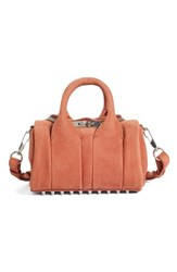 Alexander Wang Mini Rockie Nickel Leather Satchel Brown Terracotta