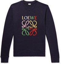 Loewe Logo Embroidered Loopback Cotton Jersey Sweatshirt Storm Blue