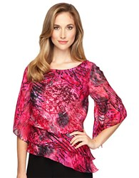Alex Evenings Abstract Print Triple Tier Blouse Fuschia