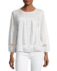 Joie Ganden Long Sleeve Lace Top White