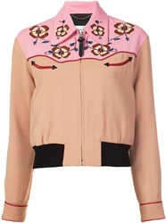 Coach Western Inspired Cropped Bomber Jacket Pink Purple