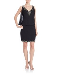 J Kara Embellished Drop Waist Dress Black