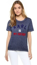 Eleven Paris Karl Is My Father Tee Burn Out Navy