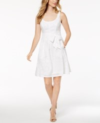 Nine West Belted Jacquard Fit And Flare Dress Natural