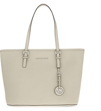 Michael Michael Kors Jet Set Travel Leather Tote Cement