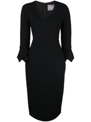 Lela Rose V Neck Dress Black