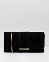 Miss Kg Black Suedette Clutch With Foldover Clasp