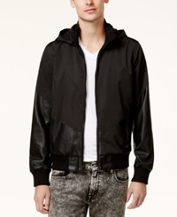 Guess Men's Cabot Hooded Mixed Media Hooded Jacket Jet Black Multi
