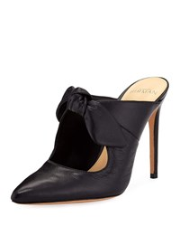 Alexandre Birman High Heel Leather Point Toe Bow Mules Black