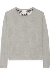 Mason By Michelle Mason Lace Paneled Cashmere Sweater Gray