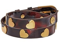 Tory Burch Metal Hearts Double Wrap Bracelet Tortoise Vintage Gold Bracelet Brown