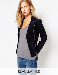 Barney's Originals Ruby Suede Biker Jacket Navy