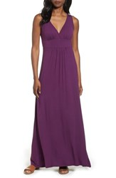 Loveappella V Neck Jersey Maxi Dress Purple Dark