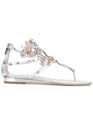 Rene Caovilla Crystal Embellished Sandals Women Calf Leather Leather Glass 38.5 Green