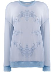 Stella Mccartney Mesh Floral Embroidery Sweatshirt Blue
