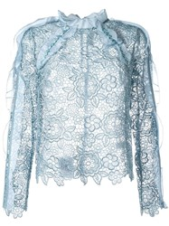 Self Portrait Lace Sheer Blouse Blue