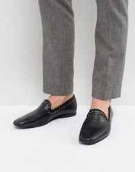 Zign Leather Studded Detail Loafers Black