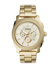 Fossil Round Stainless Steel Bracelet Chronograph Watch Gold
