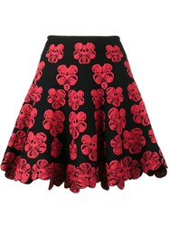 Alaia Mini A Line Skirt With Orchid Embroidery Black