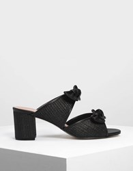 Charles And Keith Double Bow Raffia Mules Black