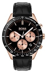 Boss Talent Chronograph Leather Strap Watch 42Mm Black