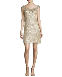 Jenny Packham Beaded Silk Chiffon Cocktail Dress Champagne
