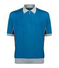 Stefano Ricci Half Zip Polo Shirt Male Blue