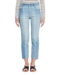 Etoile Isabel Marant Clancy Cropped Denim Jeans Light Blue
