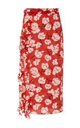 Rochas Ruffle Trimmed Floral Print Silk Skirt Red