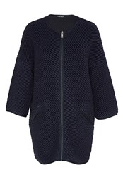 Hallhuber Knit Coat With Zipper Detail Blue