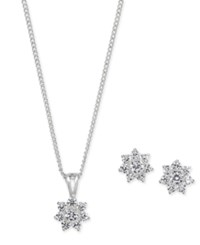 Charter Club Silver Tone Crystal Flower Pendant Necklace And Stud Earrings Set Only At Macy's