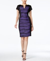 Connected Striped Colorbocked Sheath Dress Purple Black