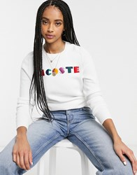 Lacoste Rainbow Slogan Sweater In White