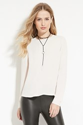 Forever 21 Semi Sheer Chiffon Blouse Taupe