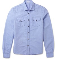 Tomas Maier Ibiza Slim Fit Cotton And Linen Blend Shirt Blue