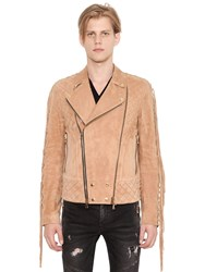 Balmain Fringed Suede Leather Biker Jacket