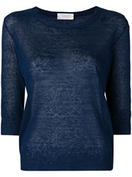 Zanone 3 4 Sleeve Knitted Top Blue