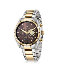 Maserati Sorpasso Two Tone Stainless Steel Chrono Men's Watch Silver