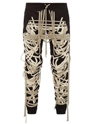 Rick Owens Laces Cotton Blend Trousers Black White