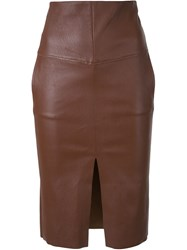 Scanlan Theodore Stretch Leather Pocket Skirt Brown