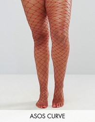 Asos Curve Oversized Fishnet Tights Red Red