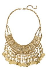 Junior Women's Stephan And Co. Bead Fringe Collar Statement Necklace Burnished Gold
