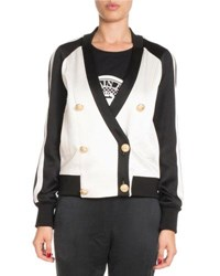 Balmain Bicolor Double Breasted Track Jacket Black White