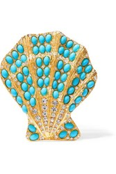 Kenneth Jay Lane Gold Tone Turquoise Brooch