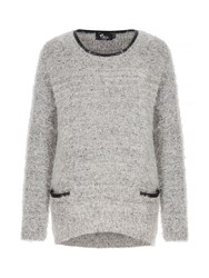 Mela Loves London Fluffy Faux Leather Trim Jumper Light Grey