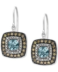 Effy Final Call Aquamarine 1 1 8 Ct. T.W. And Diamond 3 4 Ct. T.W. Square Drop Earrings In 14K White Gold