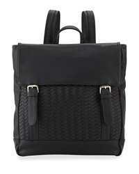 Neiman Marcus Woven Fold Over Backpack Black