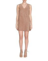 1.State Faux Suede Shift Dress Beige