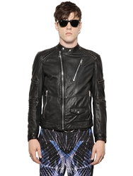 Just Cavalli Leather Jacket With Lace Up Details Black