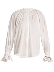 Bliss And Mischief Cherry Embroidered Cotton Voile Shirt Ivory